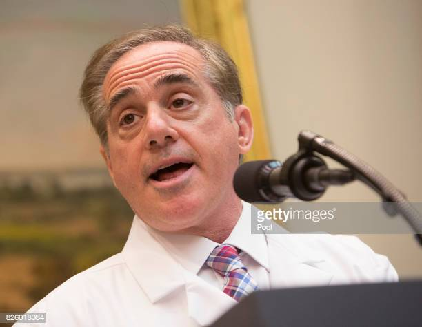 US Veterans Affairs Secretary Dr David Shulkin speaks during the announcement at The White House in Washington DC of a new program using video and...