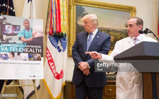 Veterans Affairs Secretary DrDavid Shulkin speaks during a Department of Veterans Affairs announcement with US President Donald J Trump of a new...