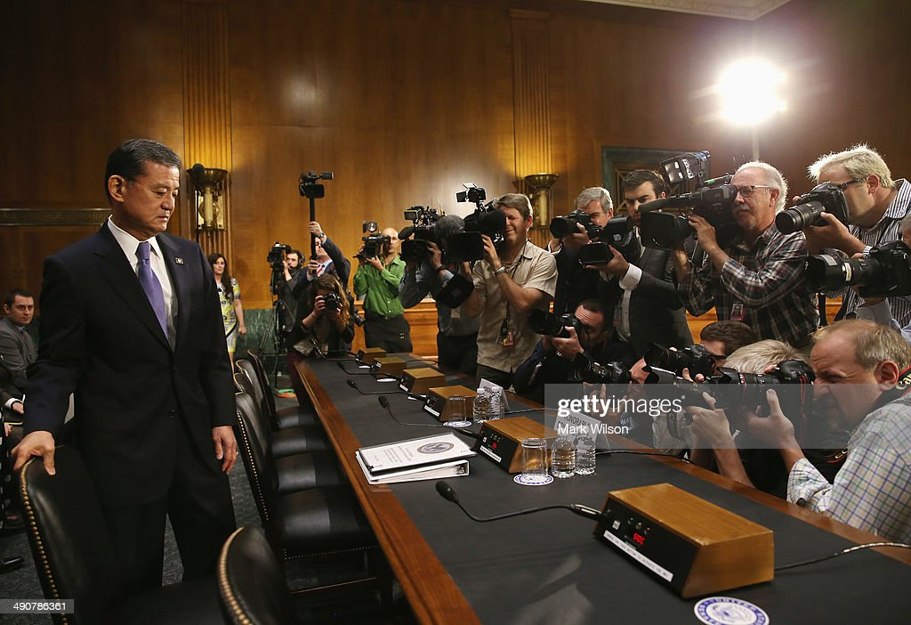 S Veterans Affairs Secretary Eric Shinseki arrives at a Senate Veterans' Affairs Committee hearing that is focusing on wait times veterans face to...
