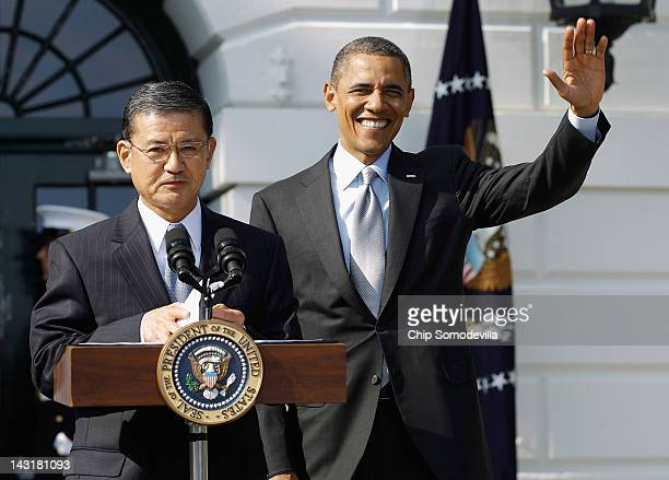 S Veterans Affairs Secretary Eric Shinseki introduces President Barack Obama during the kickoff of the Wounded Warrior Project's Soldier Ride on the...