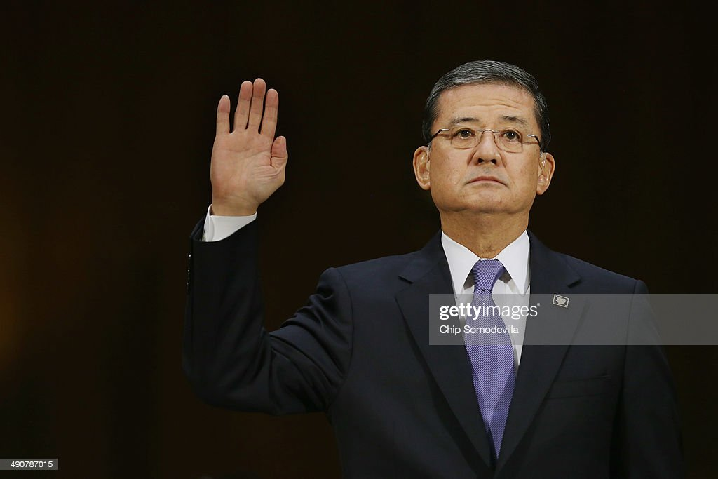 S Veterans Affairs Secretary Eric Shinseki is sworn in before testifying to the Senate Veterans' Affairs Committee about wait times veterans face to...