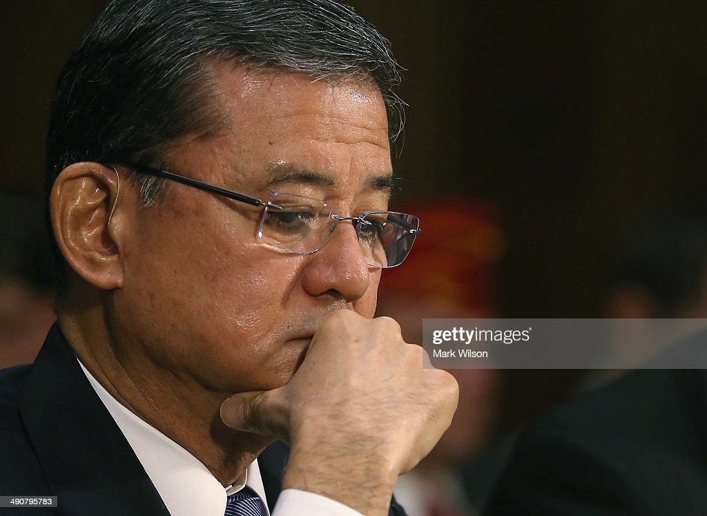 S Veterans Affairs Secretary Eric Shinseki listens to members speak during a Senate Veterans' Affairs Committee hearing that is focusing on wait...