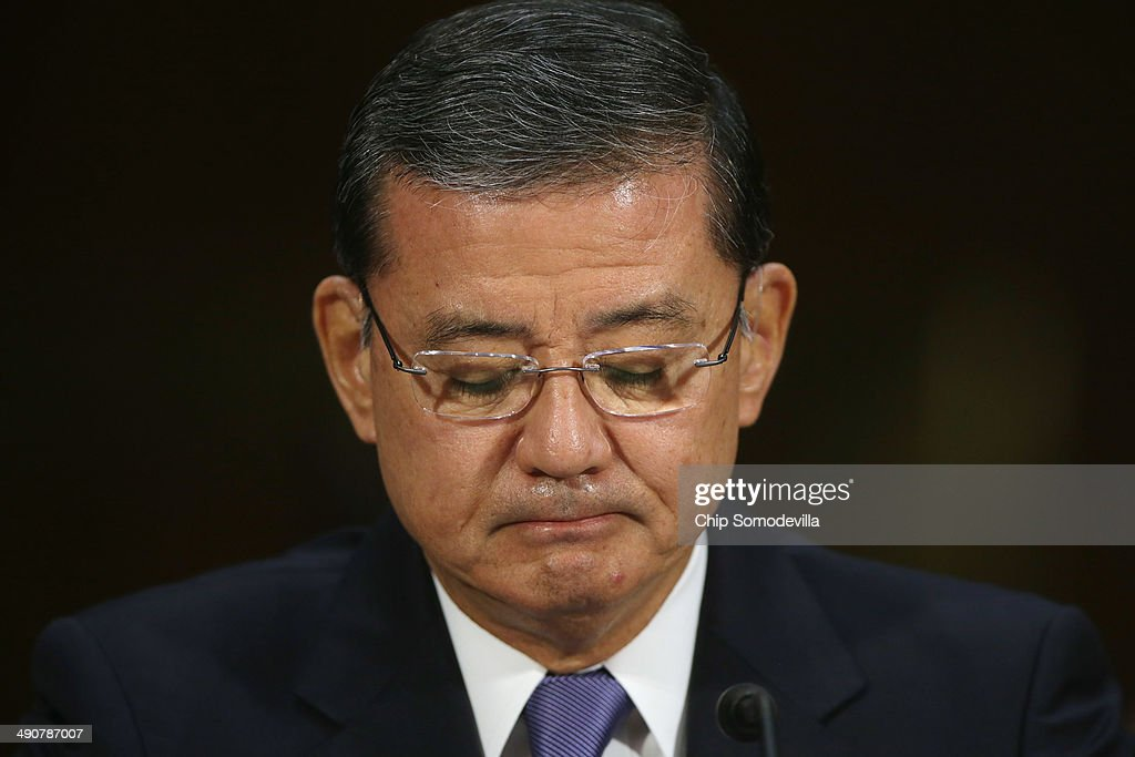 U.S. Veterans Affairs Secretary Eric Shinseki testifies before the Senate Veterans' Affairs Committee about wait times veterans face to get medical care May 15, 2014 in Washington, DC. The American Legion called Monday for the resignation of Shinseki amid reports by former and current VA employees that up to 40 patients may have died because of delayed treatment at an agency hospital in Phoenix, Arizona.