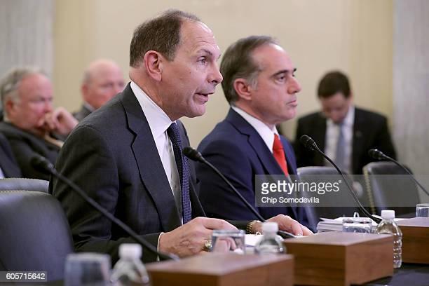 Veterans Affairs Secretary Robert McDonald and VA Undersecretary for Health David Shulkin testify before the Senate Veterans' Affairs Committee in...