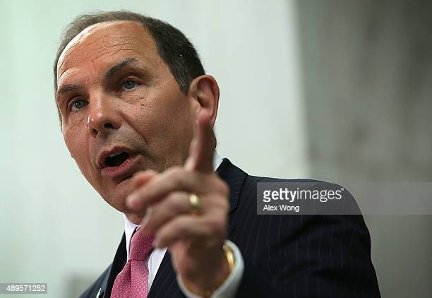 S Veterans Affairs Secretary Robert McDonald speaks as he welcomes participants of the firstever all female Honor Flight arrive at the Women in...