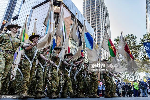 Veterans and family members march during the ANZAC Day parade on April 25 2016 in Sydney Australia Australians commemorating 101 years since the...