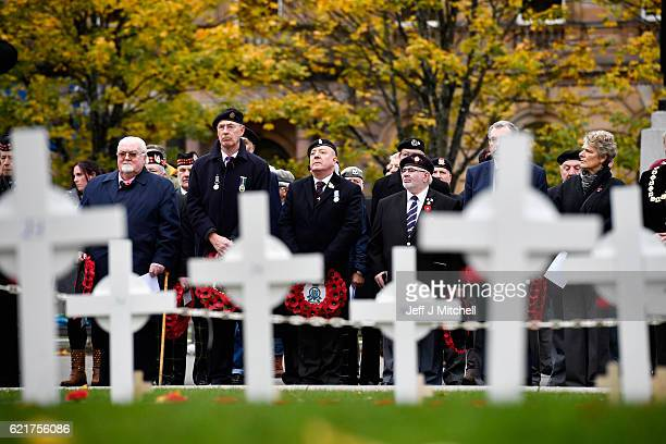Veterans and members of the public pay tribute to those who died during the opening of the garden of remembrance on November 08 2016 in Glasgow...
