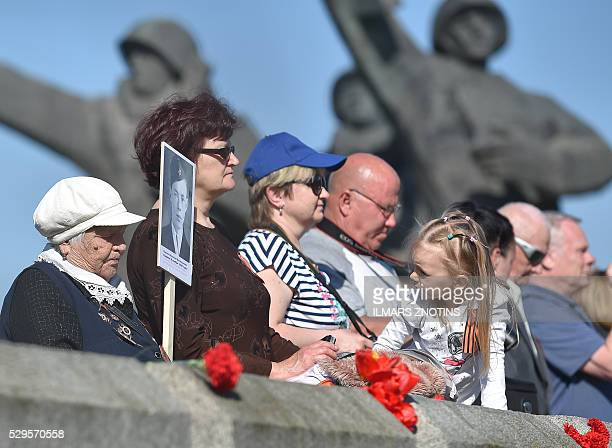 Veterans and other people attend festivities as Latvia's large Russian minority gathered to mark the 71st anniversary of the end of the Second World...
