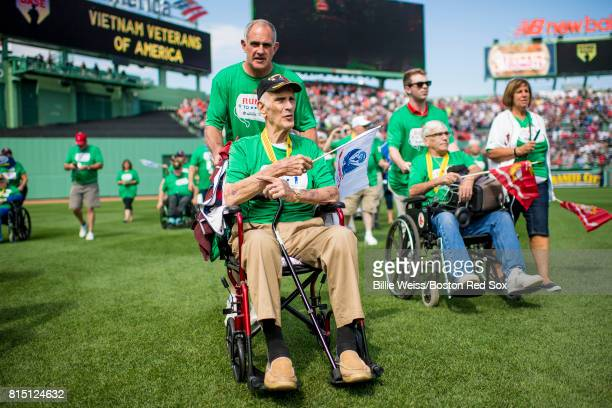 Veterans are introduced onto the field during a ceremony honoring Vietnam Veterans before a game between the Boston Red Sox and the New York Yankees...
