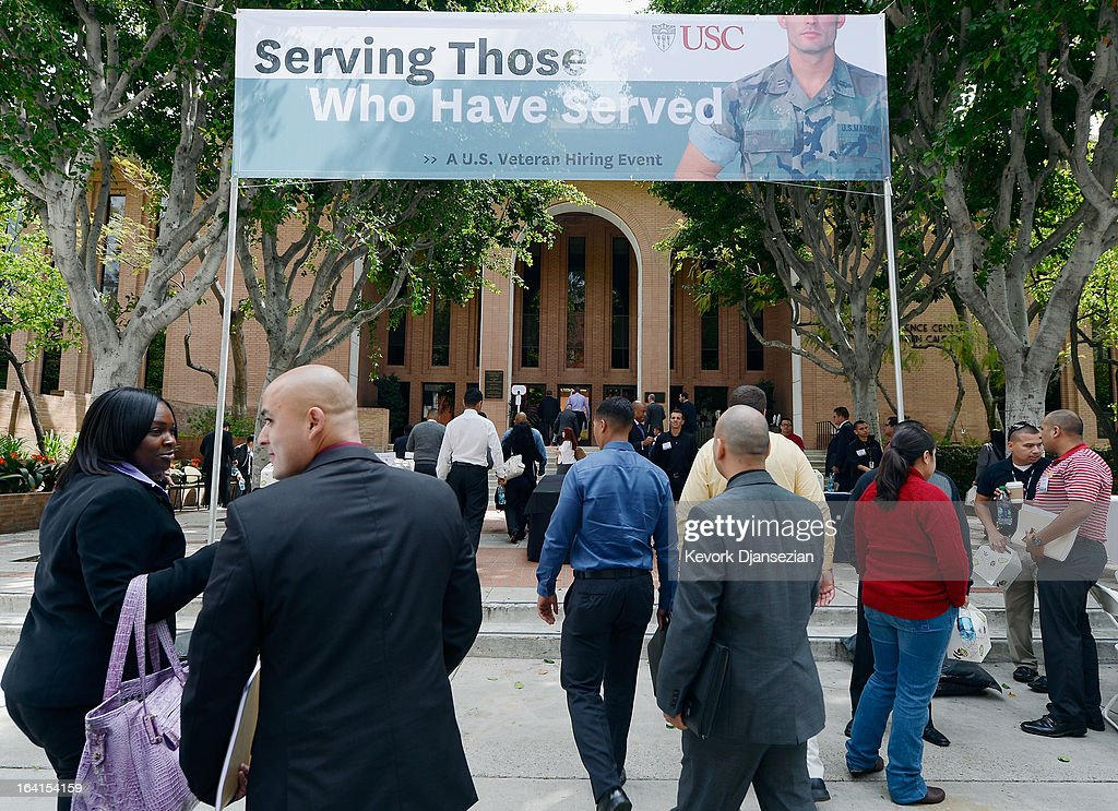 Veterans arrive to a jobs fair called 'Serving Those Who Have Served' on the campus of University of Southern California on March 20, 2013 in Los Angeles, California. California's unemployment rate tied with Rhode Island's for highest in U.S. at 9.8 percent.