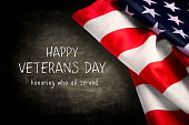 Veterans day background with text and USA flag