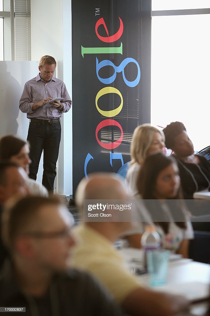 Veterans get career coaching from Google employees at the company's office on June 11, 2013 in Chicago, Illinois. The vets and company volunteers were participating in Google's 'Help a Hero Get Hired' program taking place at Google's Chicago office. The program evolved from a partnership between Google and Student Veterans of America.