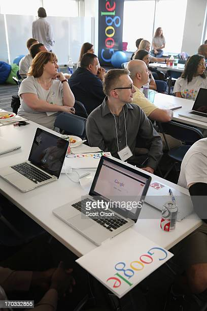 Veterans get career coaching from Google employees at the company's office on June 11 2013 in Chicago Illinois The vets and company volunteers were...