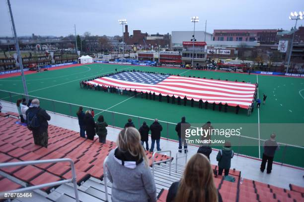 A veterans honoring ceremony takes place before the start of the Division II Women's Field Hockey Championship held at Trager Stadium on November 19...