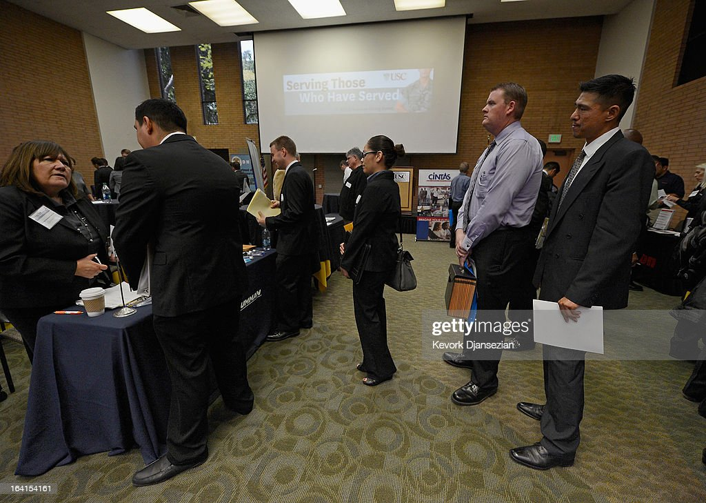 Veterans line up to speak to a representative from Northrop Grumman Corporation during a jobs fair for veterans called 'Serving Those Who Have Served' on the campus of University of Southern California on March 20, 2013 in Los Angeles, California. California's unemployment rate tied with Rhode Island's for highest in U.S. at 9.8 percent.