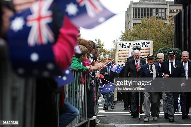 Veterans march along Bathurst Street during the ANZAC Day Parade in the Sydney CBD on April 25 2010 in Sydney Australia Veterans dignitaries and...