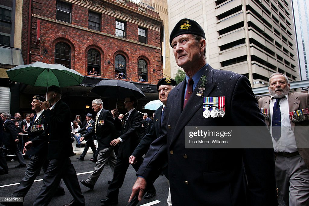 Veterans march along Bathurst Street during the ANZAC Day Parade in the Sydney CBD on April 25, 2010 in Sydney, Australia. Veterans, dignitaries and members of the public today marked the 95th anniversary of ANZAC (Australia New Zealand Army Corps) Day, when First World War troops landed on the Gallipoli Peninsula, Turkey early April 25, 1915, commemorating the event with ceremonies of remembrance for those who fought and died in all wars.