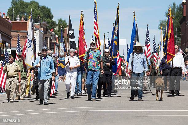 Veterans march down Main Street July 4 Independence Day Parade Telluride Colorado