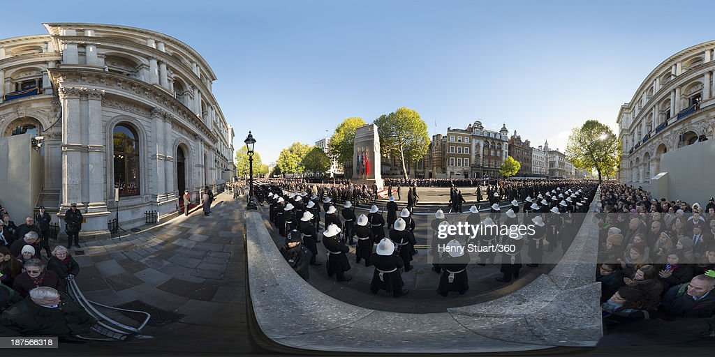 Veterans march past the Cenotaph during a wreath laying ceremony held in Whitehall on November 10, 2013 in London, United Kingdom. People across the UK gathered to pay tribute to service personnel who have died in the two World Wars and subsequent conflicts, as part of the annual Remembrance Sunday ceremonies.