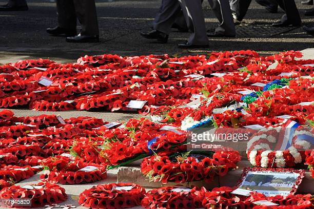 Veterans march past wreaths at the Cenotaph in Whitehall on Remembrance Sunday to commemorate the war dead on November 11 2007 in London England