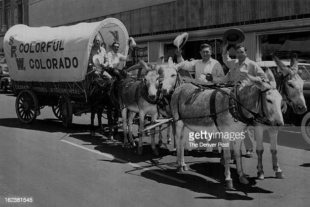 AUG 6 1950 Veterans of Foreign Wars These burros symbols of mining and the west and the Veterans of Foreign Wars' covered wagon will be shown at the...
