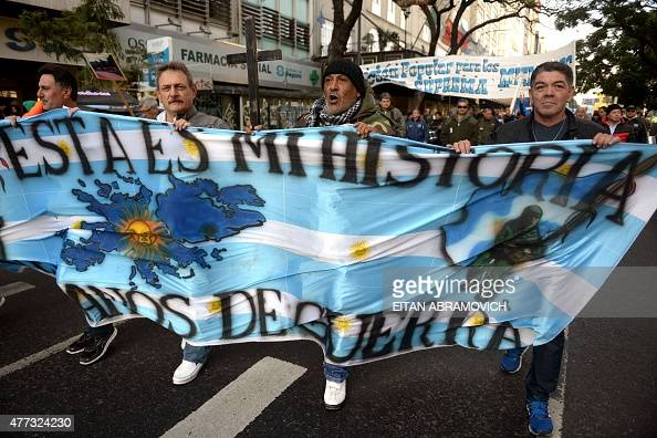 Veterans of the 1982 Falklands War between Great Britain and Argentina march towards the Argentinian Supreme Court to protest in Buenos Aires on June...