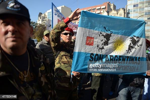 Veterans of the 1982 Falklands War between Great Britain and Argentina take part in a protest outside the Argentinian Supreme Court in Buenos Aires...