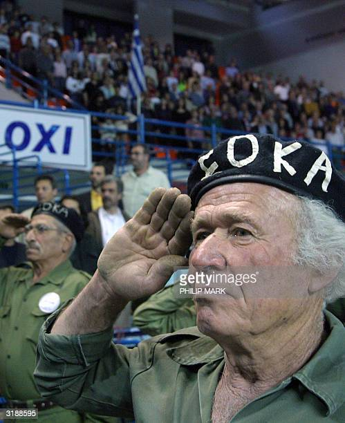 Veterans of the Greek Cypriot nationalist EOKA underground guerrilla movement set up in 1955 to rid Cyprus of its then British colonial rulers take...