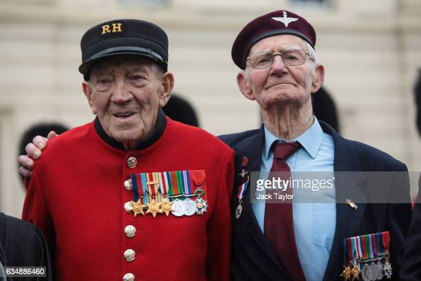 Veterans of World War II George Skipper and Frederick Glover are pictured during a photo call for the launch of the Veterans Black Cab ride at...