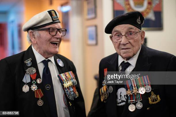 Veterans of World War II Harry Grew and Joe Hadley are pictured ahead of a photo call for the launch of the Veterans Black Cab ride at Wellington...