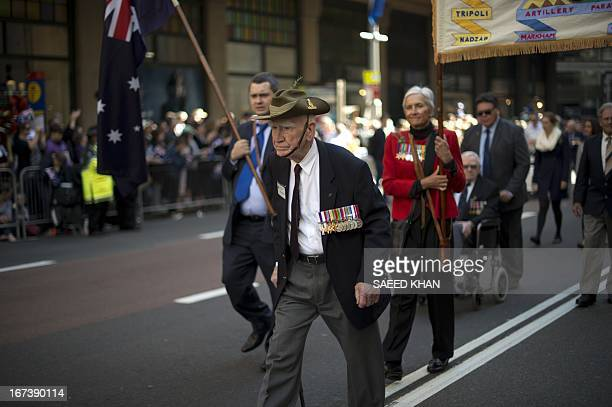 Veterans participate in the Anzac Day march in Sydney on April 25 2013 Tens of thousands of Australians and New Zealanders turned out on April 25 to...