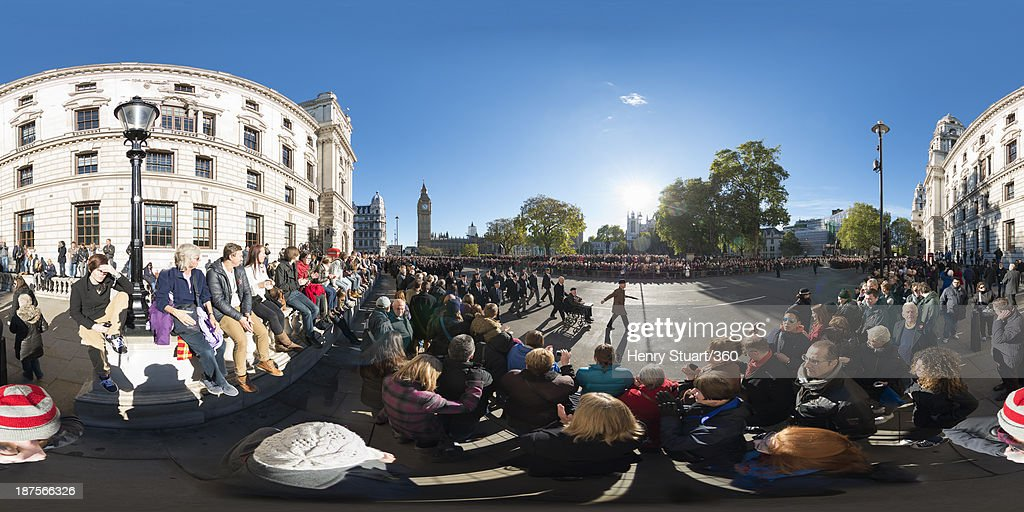 Veterans pass through Parliament Square after a wreath laying ceremony at the Cenotaph on November 10, 2013 in London, United Kingdom. People across the UK gathered to pay tribute to service personnel who have died in the two World Wars and subsequent conflicts, as part of the annual Remembrance Sunday ceremonies.