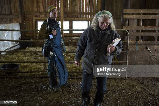 Veterinarian Brendan McMullen left discusses the health of a cow with farm owner Elizabeth McAlister right January 10 2013 at the Cato Corner Farm in...