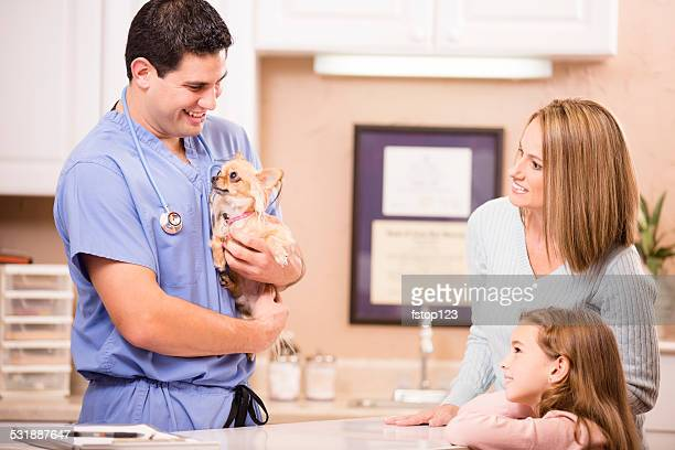 Veterinarian examines Chihuahua dog as pet owners, family looks on.