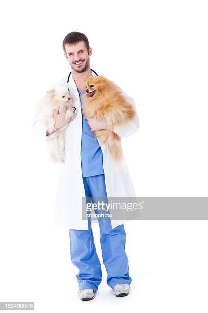 Veterinarian with a Healthy Pomeranian Dog