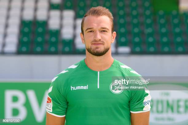Veton Berisha of SpVgg Greuther Fuerth poses during the team presentation at Sportpark Ronhof on July 6 2017 in Fuerth Germany