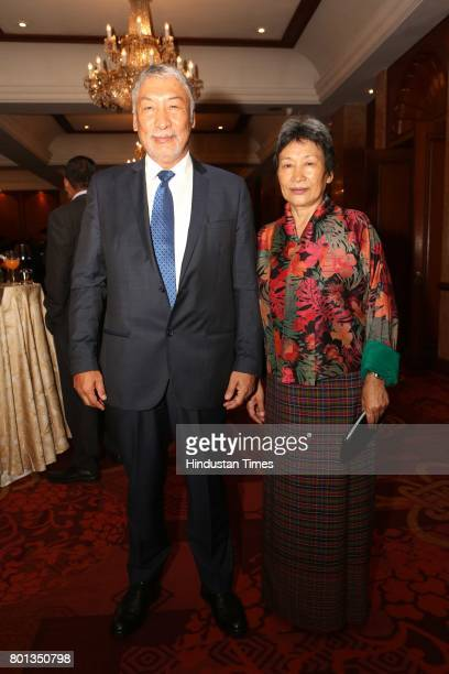 Vetsop Namgyel and Dawzam Namgyel during the Luxembourg National Day celebration at Taj Mahal Hotel on June 23 2017 in New Delhi India The Luxembourg...