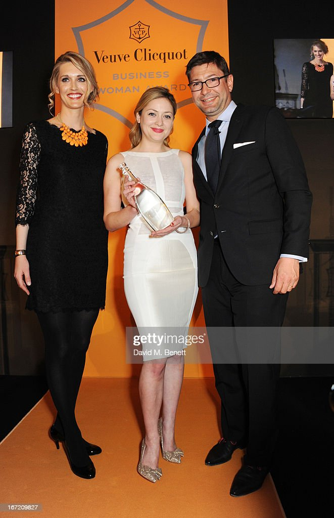 Veuve Clicquot's Christina Jesaitis, Kathryn Parsons, winner of the New Generation award and International Director at Veuve Clicquot Laurent Boidevezi attend the Veuve Clicquot Business Woman Award 2013 at Claridge's Hotel on April 22, 2013 in London, England.