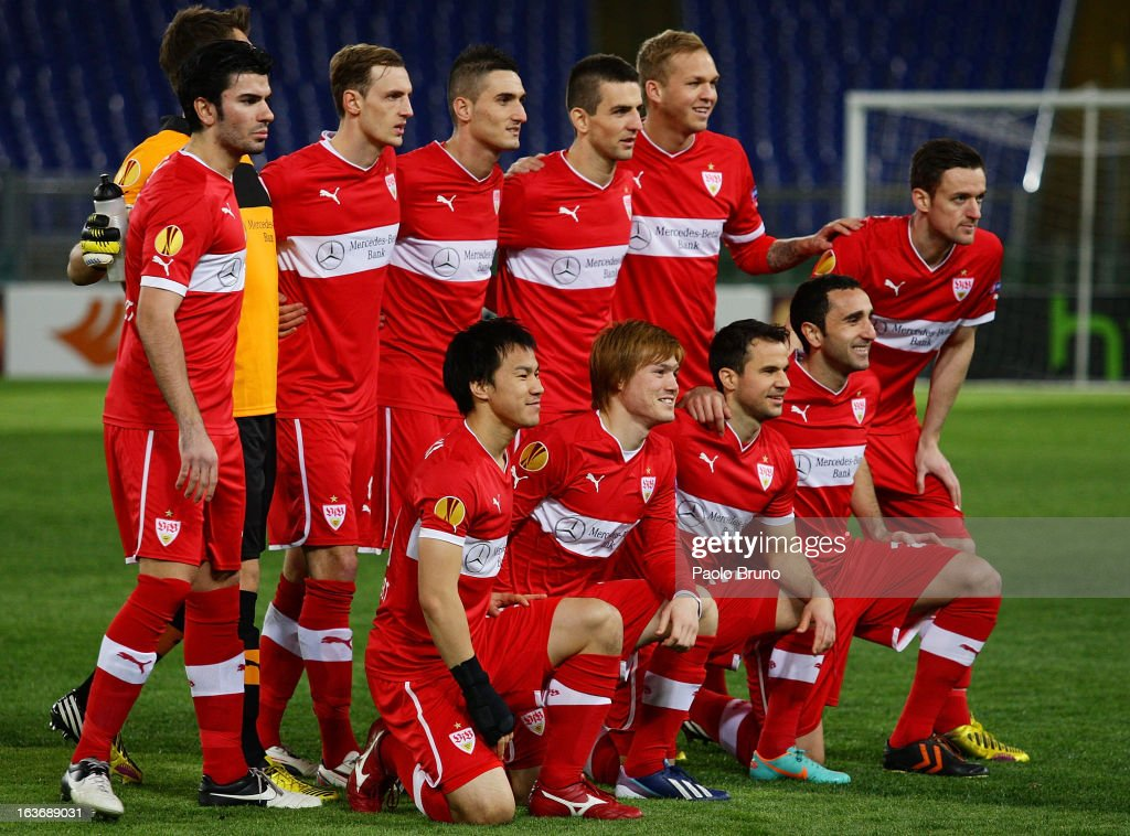 VfB Stuttgart team pose during the UEFA Europa League Round of 16 second leg match between S.S. Lazio and VfB Stuttgart at Stadio Olimpico on March 14, 2013 in Rome, Italy.