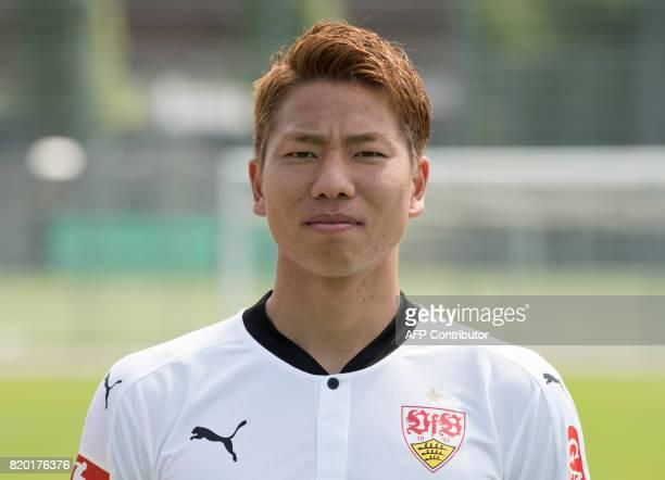 VfB Stuttgart's Japanese forward Takuma Asano poses during a team presentation of the German first division Bundesliga football team VfB Stuttgart in...