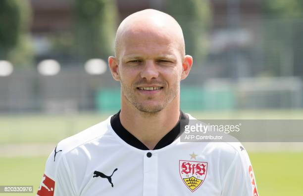 VfB Stuttgart's midfielder Tobias Werner poses during a team presentation of the German first division Bundesliga football team VfB Stuttgart in...