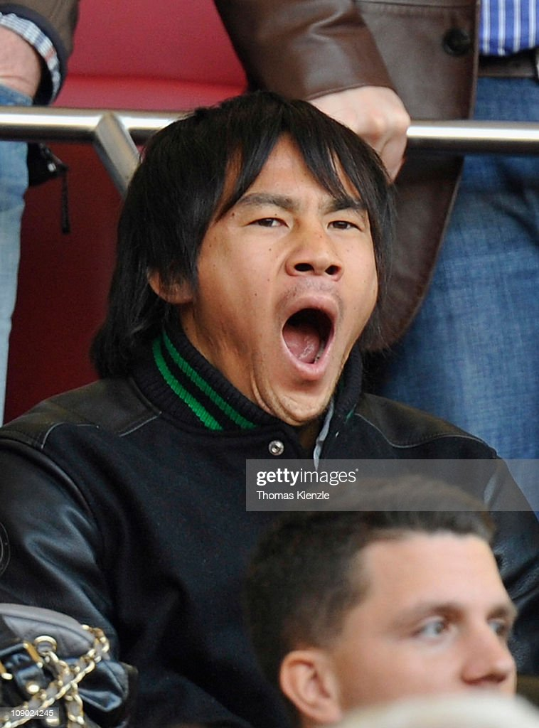 VfB Stuttgart's new player <a gi-track='captionPersonalityLinkClicked' href=/galleries/search?phrase=Shinji+Okazaki&family=editorial&specificpeople=4320771 ng-click='$event.stopPropagation()'>Shinji Okazaki</a> sits on the tribune prior to the Bundesliga match between VfB Stuttgart and 1. FC Nuernberg at Mercedes-Benz Arena on February 12, 2011 in Stuttgart, Germany.