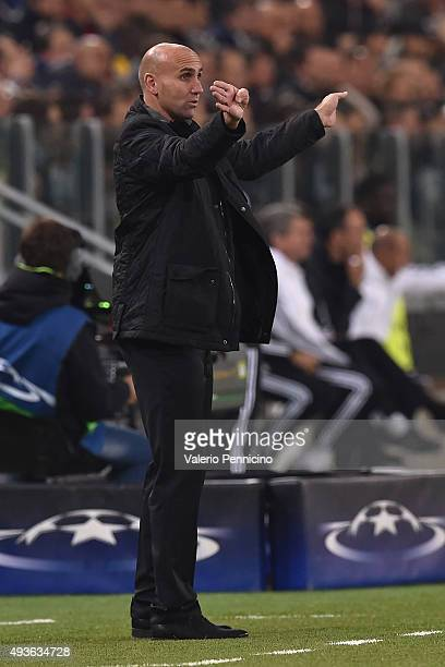 VfL Borussia Moenchengladbach head coach Andre Schubert issues instructions during the UEFA Champions League group stage match between Juventus and...