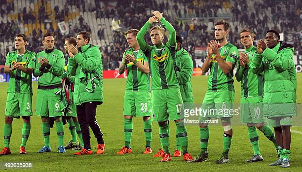 VfL Borussia Monchengladbach players salute the fans at the end of the UEFA Champions League group stage match between Juventus and VfL Borussia...