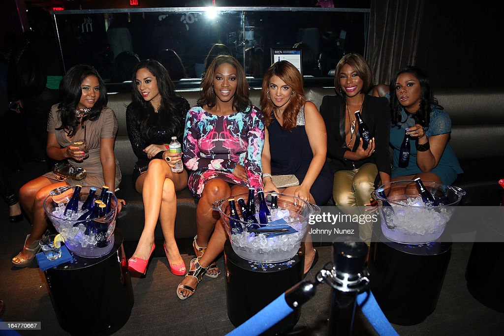 Vh1's 'The Gossip Game' castmembers Angela Yee Sharon Carpenter Jas Fly Kim Osorio K Foxx and Ms Drama attend the Vh1 'The Gossip Game' Press...