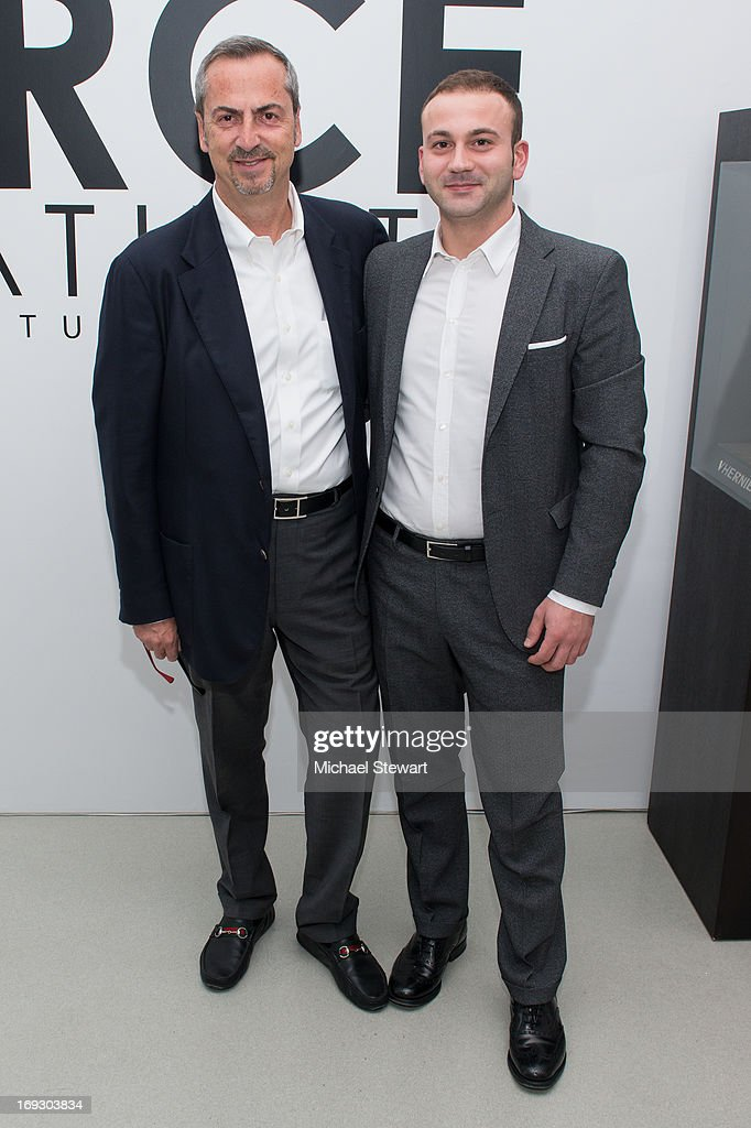 Vhernier Jewels President Carlo Traglio (L) and Gian Antonio Pisterzi attend the Fierce Creativity Art Exhibition Reception at The Flag Art Foundation on May 22, 2013 in New York City.