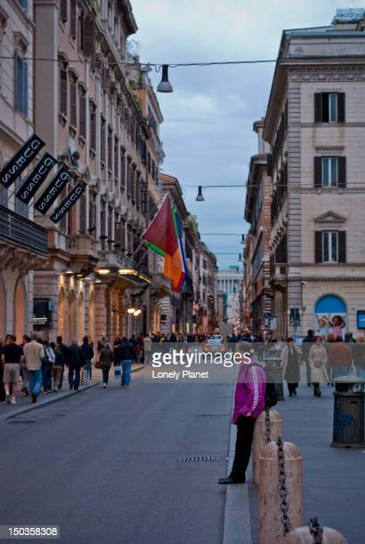 Via del Corso with Il Vittoriano at end of street.