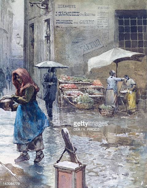 Via della Lungaretta in Rome by Ettore Roesler Franz from the series Disappeared Rome Italy 19th Century Watercolour detail