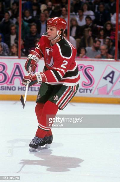 Viacheslav Fetisov of the New Jersey Devils skates on the ice during an NHL game against the Philadelphia Flyers on December 20 1990 at the Spectrum...