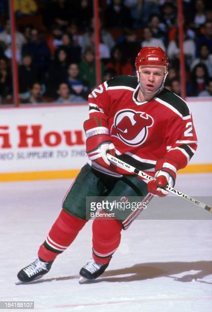 Viacheslav Fetisov of the New Jersey Devils skates on the ice during an NHL game against the Philadelphia Flyers on November 12 1989 at the Spectrum...
